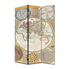 Fine Asianliving Room Divider Privacy Screen 3 Panels W120xH180cm World Map