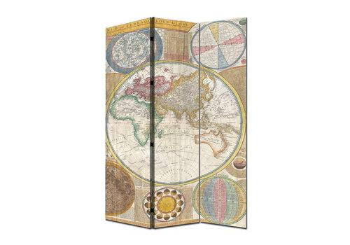 Fine Asianliving Paravent Raumteiler Trennwand 3-teilig Weltkarte B120xH180cm