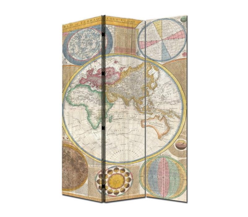 Kamerscherm Scheidingswand B120xH180cm 3 Panelen Wereldkaart