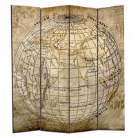 Kamerscherm Scheidingswand B160xH180cm 4 Panelen Vintage Wereldbol