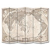 Fine Asianliving Fine Asianliving Room Divider Privacy Screen 6 panel World Map Vintage L240xH180cm