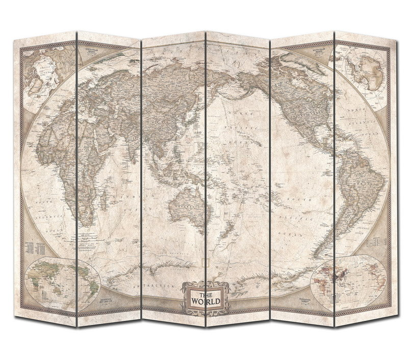 Fine Asianliving Room Divider Privacy Screen 6 panel World Map Vintage L240xH180cm