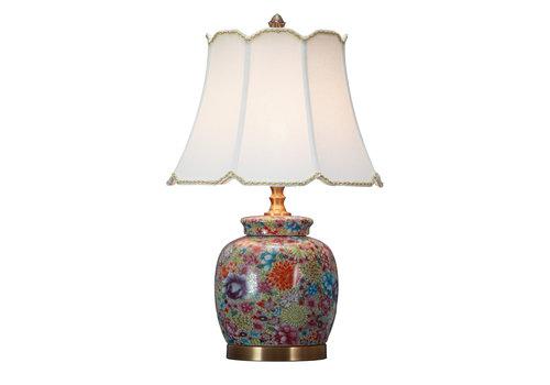 Fine Asianliving Lampada da Tavolo Cinese in Porcellana con Paralume Multicolore Arte