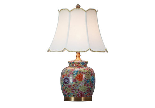 Fine Asianliving Oriental Table Lamp Porcelain with Lampshade Multicolour Art