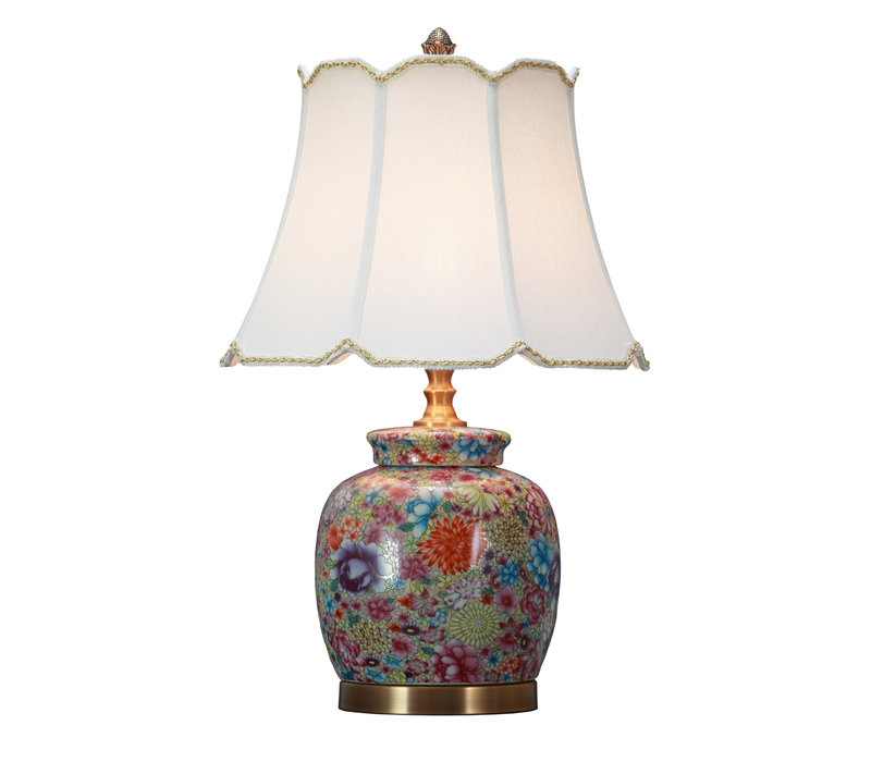 Oriental Table Lamp Porcelain with Lampshade Multicolour Art