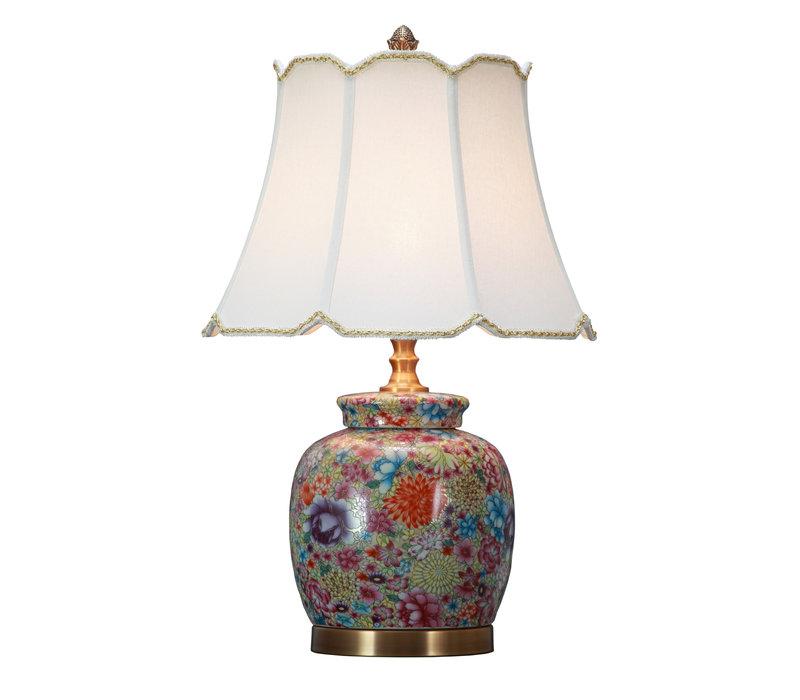 Table Oriental Lampe en Porcelaine Art Multicolor