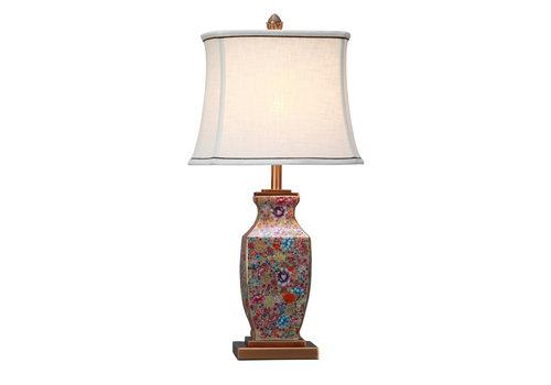 Fine Asianliving Lampe de Table en Porcelaine Chinoise Peinte à la Main Multicouleur