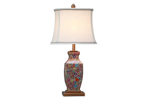 Fine Asianliving Oriental Table Lamp Porcelain with Lampshade Multicolour Handpainted