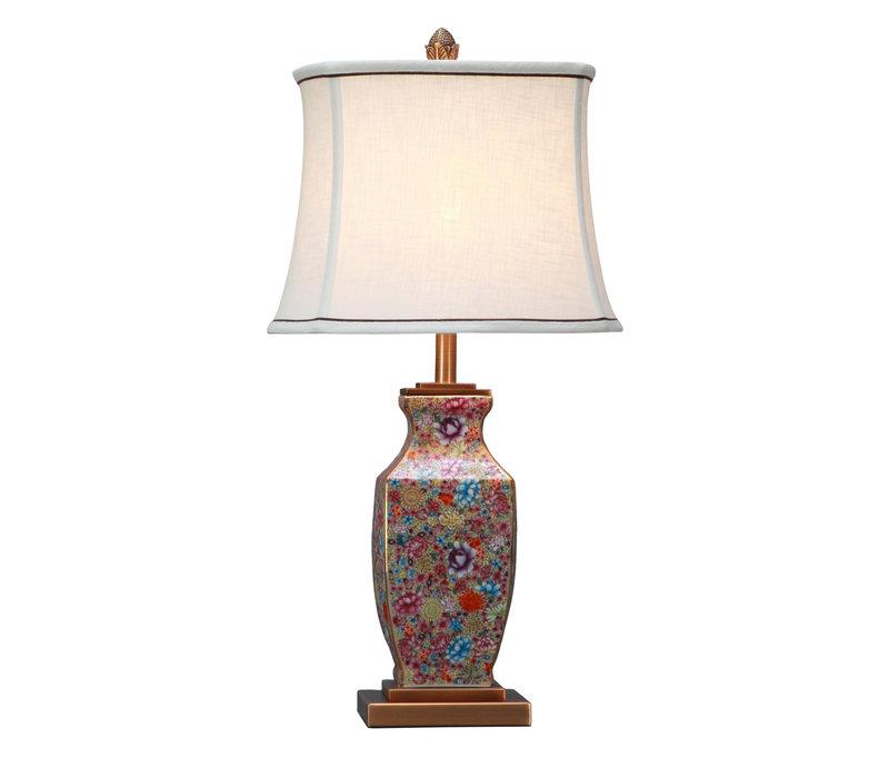 Oosterse Tafellamp Porselein Multicolor met Kap