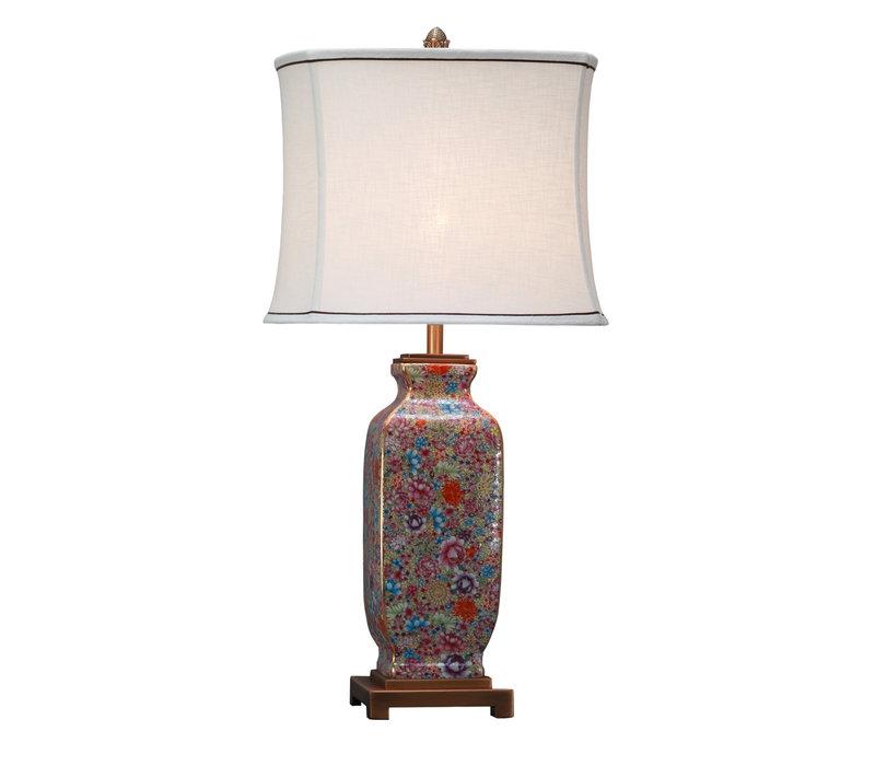 Lámpara de Mesa de Porcelana China con Pantalla Pintada a Mano Multicolor