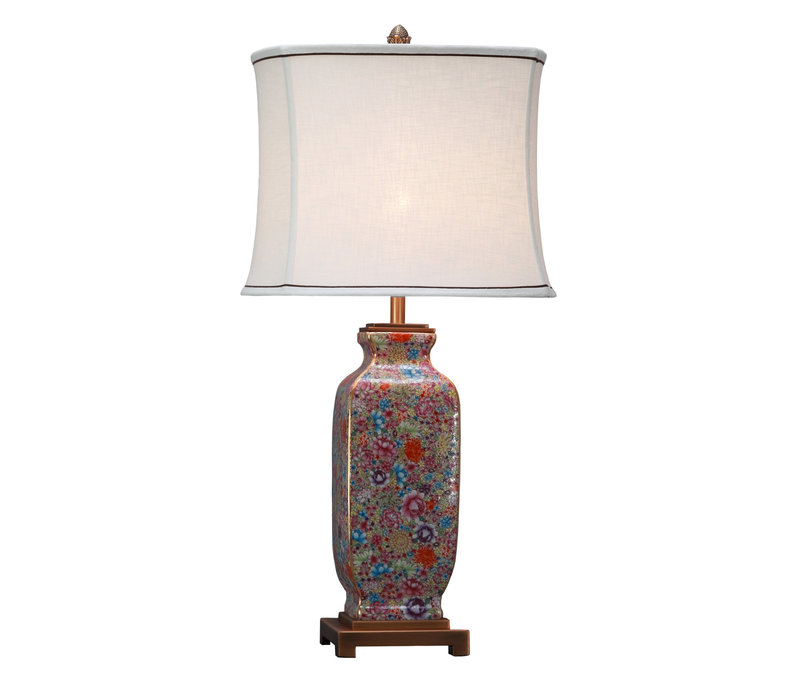 Oriental Table Lamp Porcelain with Lampshade Multicolour Hand-painted