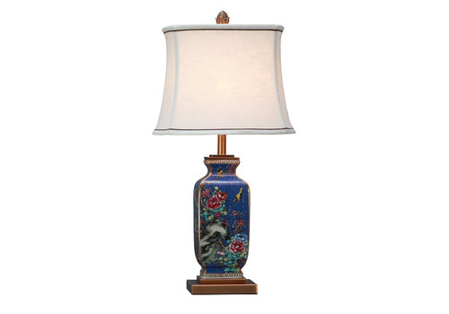 Fine Asianliving Lampe de Table en Porcelaine Chinoise Bleu Peinte àla Main