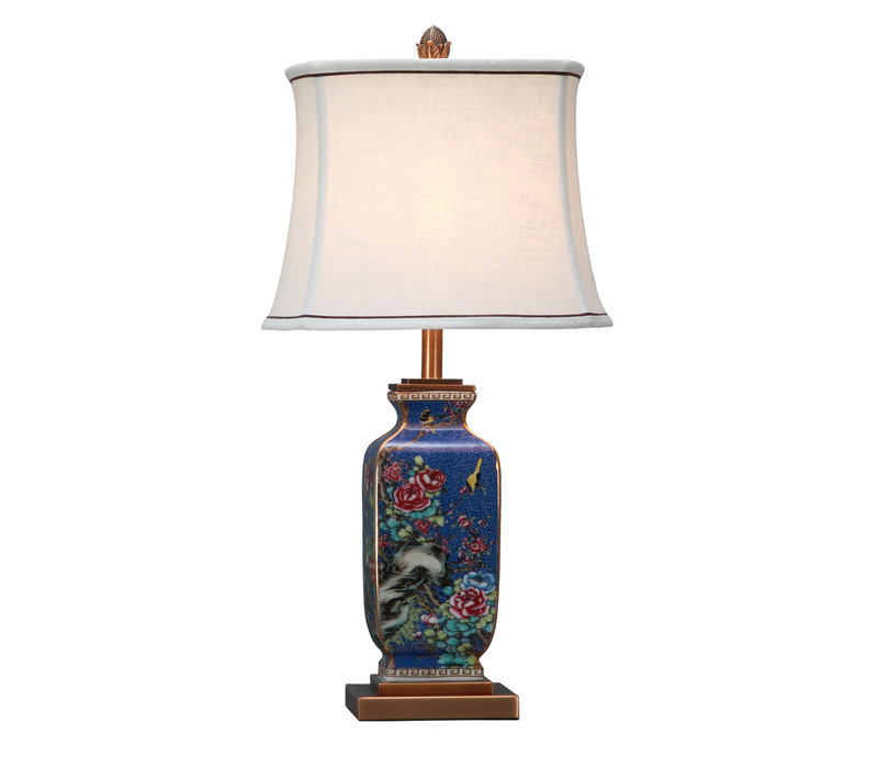 Chinese Table Lamp Porcelain with Lampshade Blue Handpainted