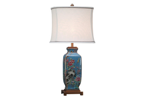 Fine Asianliving Chinese Oriental Table Lamp with Linen Lampshade Ceramic Porcelain Hand-painted