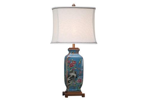 Fine Asianliving Chinesische Tischlampe Porzellan mit Leinen Schirm Handbemalt