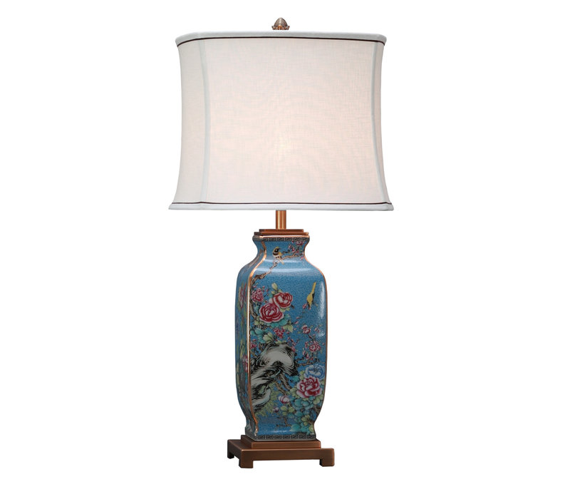 Lámpara de Mesa de Porcelana China con Pantalla de Lino Pintada a Mano
