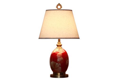Fine Asianliving Chinesische Tischlampe Porzellan mit Schirm Rot Gold Gingko Blätter Handgefertigt