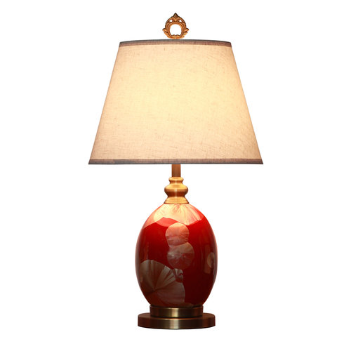 Oriental Table Lamp Porcelain with Lampshade Red Gold Gingko Leaves Handmade