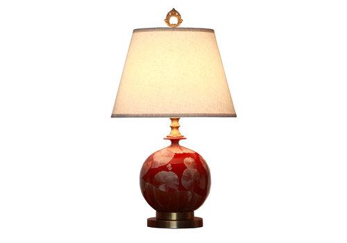 Fine Asianliving Oosterse Tafellamp Porselein Rood Goud met Kap