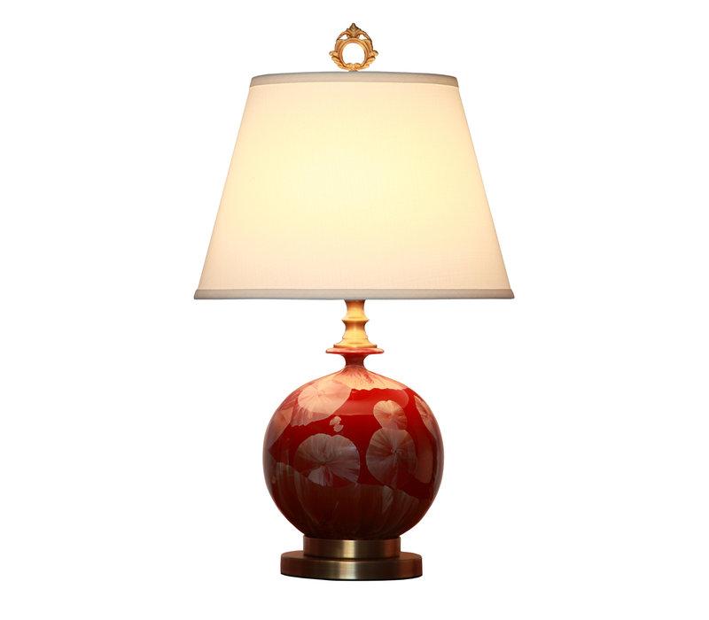 Oosterse Tafellamp Porselein Rood Goud met Kap