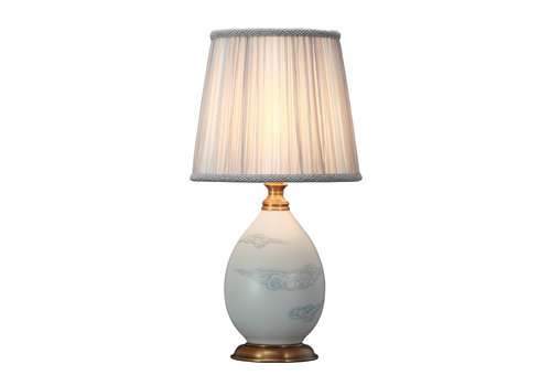 Fine Asianliving Oriental Table Lamp Porcelain with Lampshade Matte Cloud