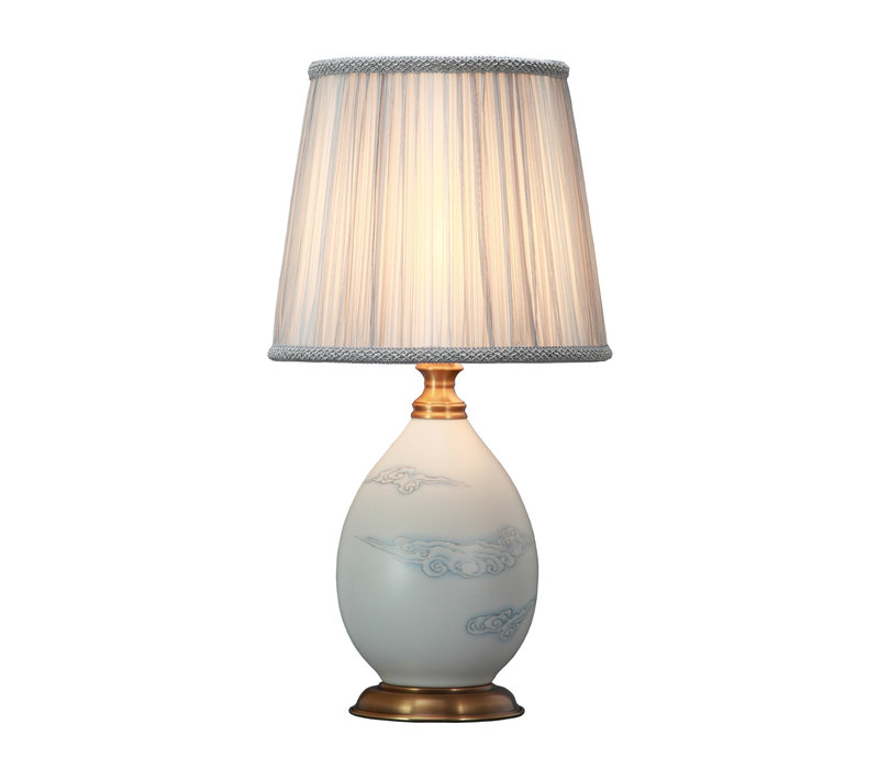 Oriental Table Lamp Porcelain with Lampshade Matte Cloud