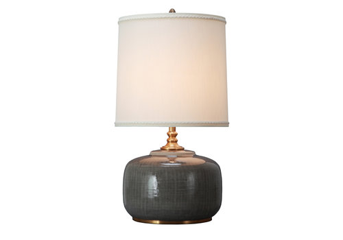 Fine Asianliving Oosterse Tafellamp Porselein Donker Grijs met Kap