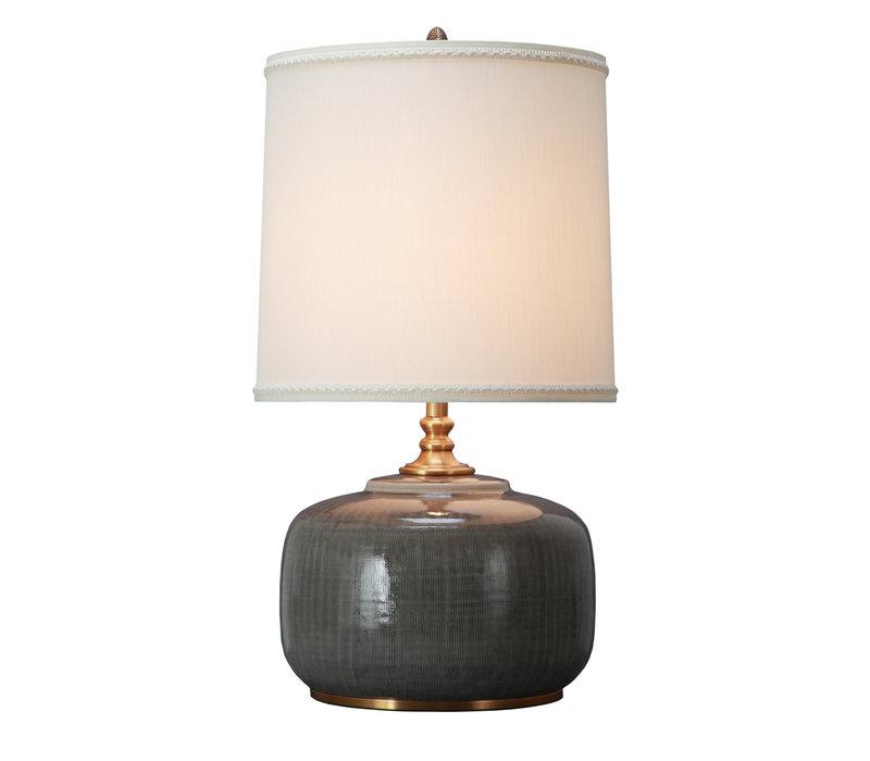 Oosterse Tafellamp Porselein Donker Grijs met Kap