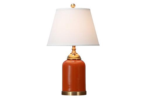 Fine Asianliving Lámpara de Mesa de Porcelana China con Pantalla Naranja