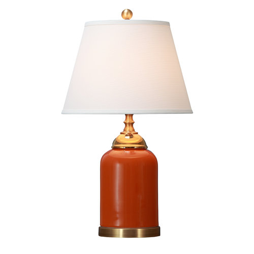 Oriental Table Lamp Porcelain with Lampshade Orange