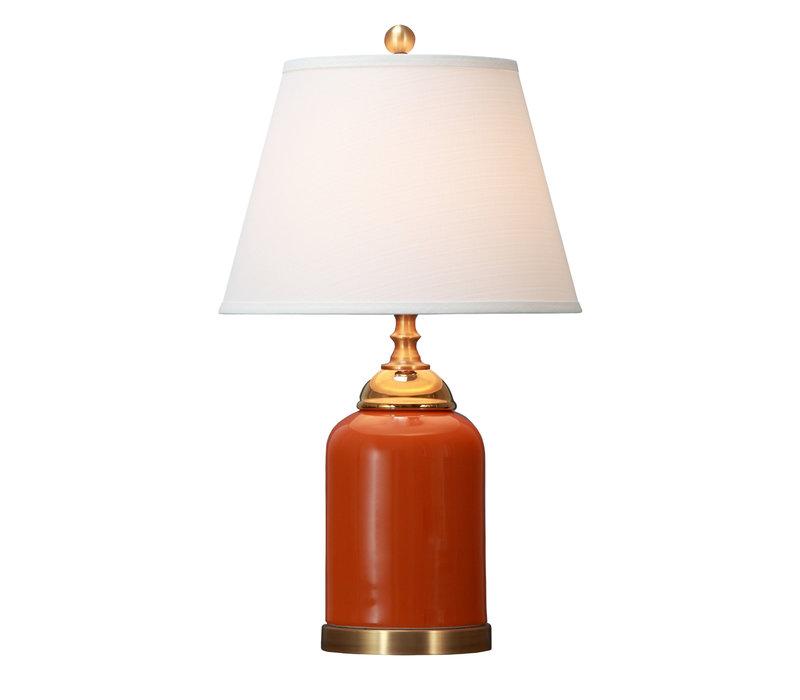 Oosterse Tafellamp Porselein Oranje met Kap