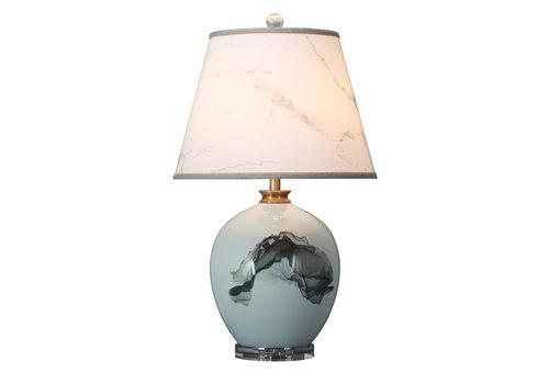 Fine Asianliving Chinesische Tischlampe Porzellan mit Schirm Abstrakte Landschaft