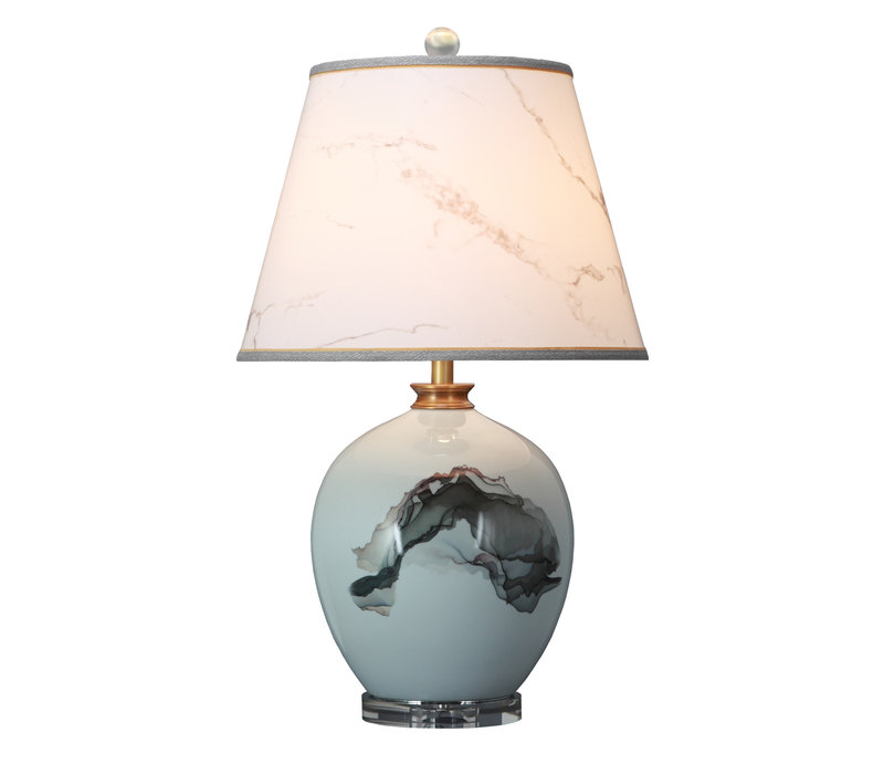 Oriental Table Lamp Porcelain with Lampshade Abstract Scenery