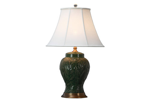 Fine Asianliving Oriental Table Lamp Porcelain with Lampshade Leaves