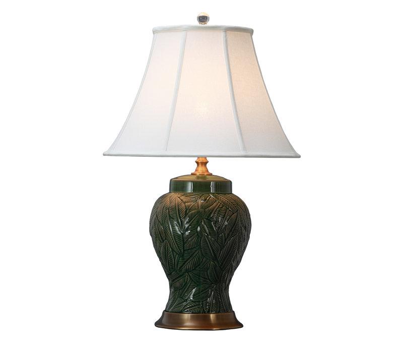 Oosterse Tafellamp Porselein Bladeren met Kap