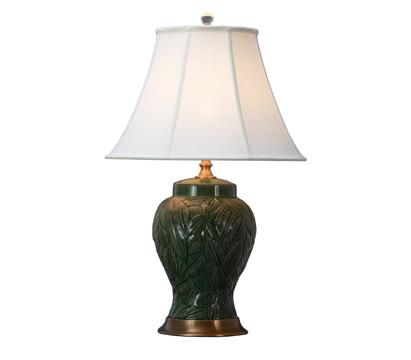 Oriental Table Lamp Porcelain with Lampshade Leaves