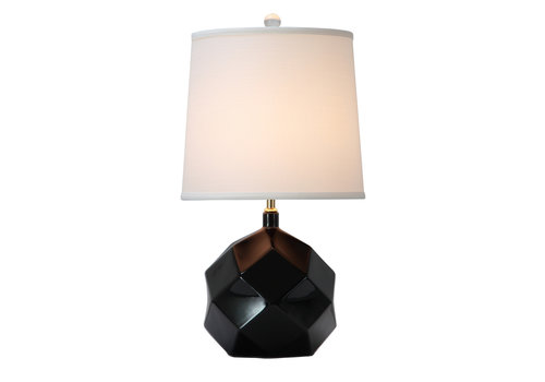 Fine Asianliving Table Lamp Porcelain with Lampshade Black Art