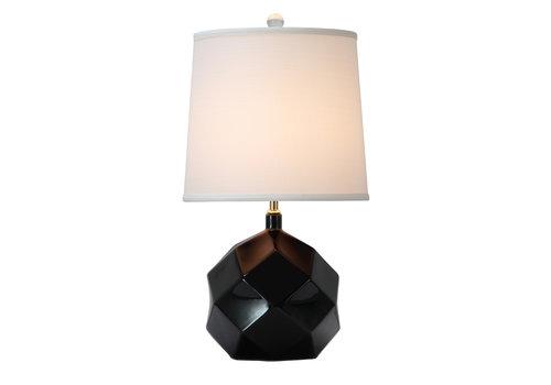 Fine Asianliving Tafellamp Porselein met Kap Black Art