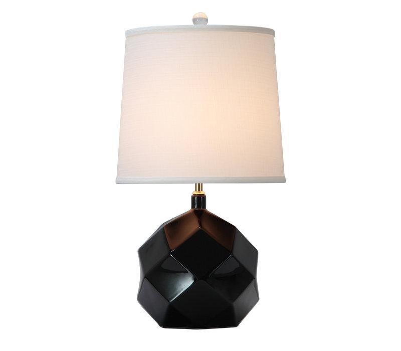 Lámpara de Mesa de Porcelana con Pantalla Arte Negro