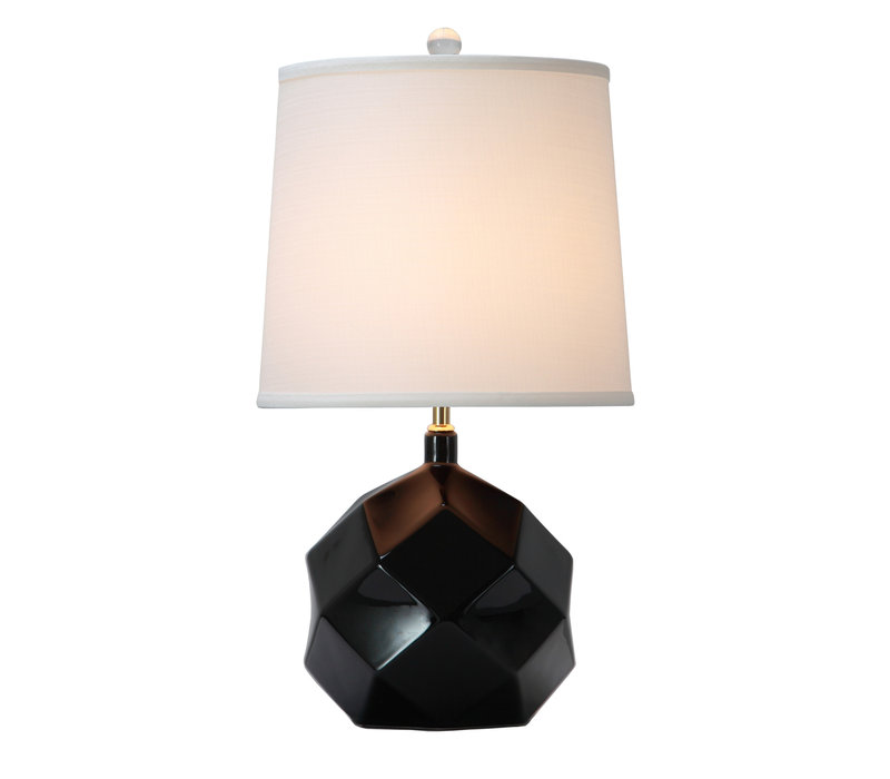 Table Lamp Porcelain with Lampshade Black Art
