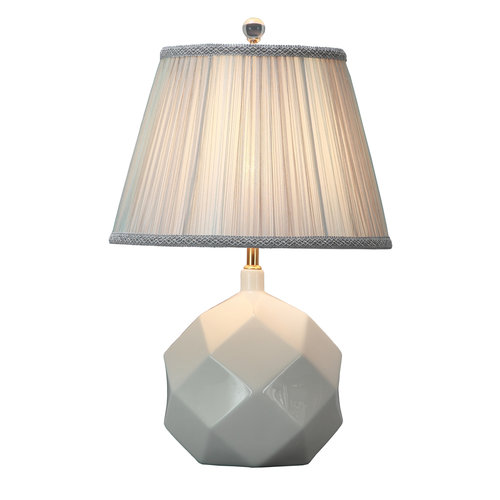 Table Lamp Porcelain with Lampshade White Art