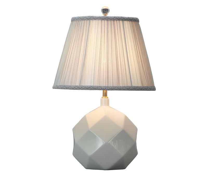 Tafellamp Porselein met Kap Wit Art