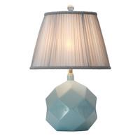 Lámpara de Mesa de Porcelana con Pantalla Azul Celeste Arte