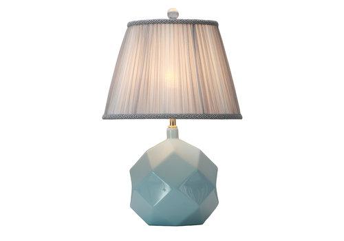 Fine Asianliving Lámpara de Mesa de Porcelana con Pantalla Azul Celeste Arte