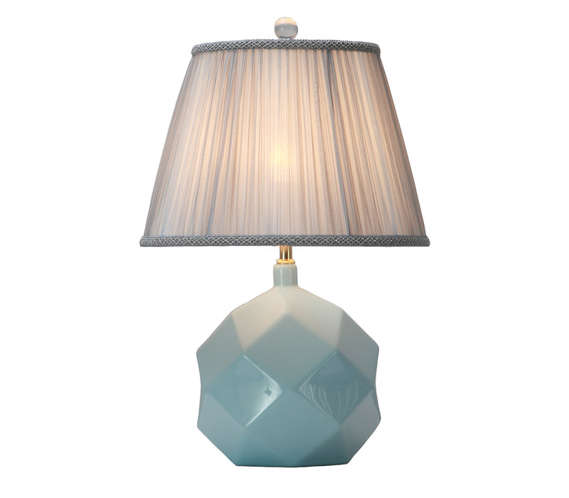 Table Lamp Porcelain with Lampshade Sky Blue Art
