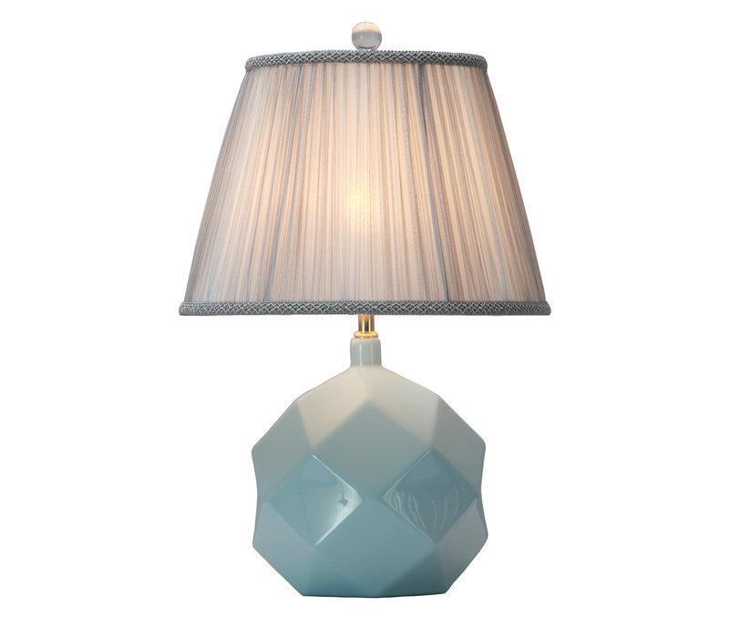 Tischlampe Porzellan mit Schirm Himmelblau mit Kunst