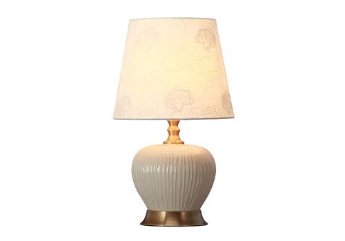 Fine Asianliving Tischlampe Porzellan mit Schirm Weiß