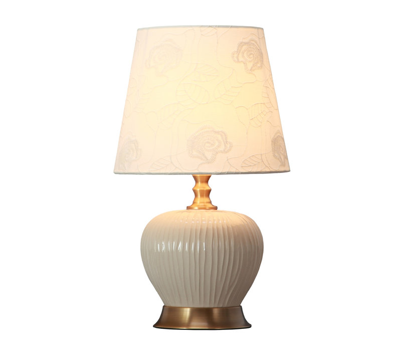 Table Lamp Porcelain with Lampshade White