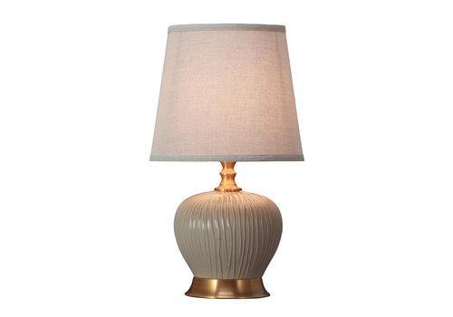 Fine Asianliving Lámpara de Mesa de Porcelana con Pantalla Pantalla Greige