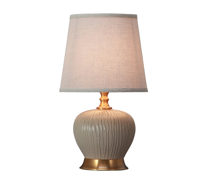Table Lamp Porcelain with Lampshade Greige